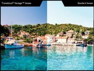 Transitons Vantage Lenses vs Standard lenses Glare Test Visual Q Eyecare Melbourne South Yarra Richmond